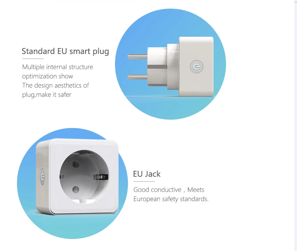 Image of   Smart wifi kontakt/plug- Kompatibel med google home & Amazon Alexa (2 stk)