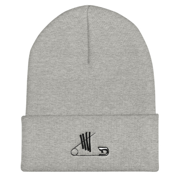 Safety Pin Cuffed Beanie