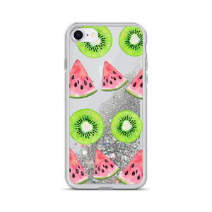 Kiwi Watermelon Liquid Glitter Phone Case