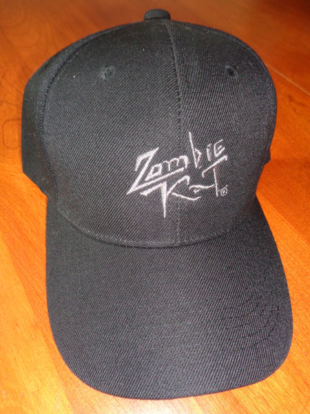 Zombie Kat - Black Hat with Silver Thread