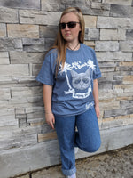 Zombie Kat - Life's a Beach - Denim Blue T-shirt