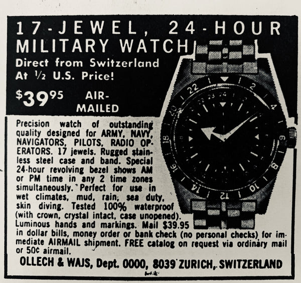 An Army Times advertisement for the military-dial 'Early Bird', one of OW's most popular Vietnam-era watches.