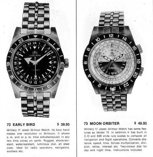 Ollech and Wajs OW Moon Orbiter vintage watch Early Bird