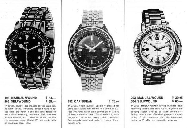 Ollech and Wajs OW vintage models ad vintage Vietnam watch Swiss made