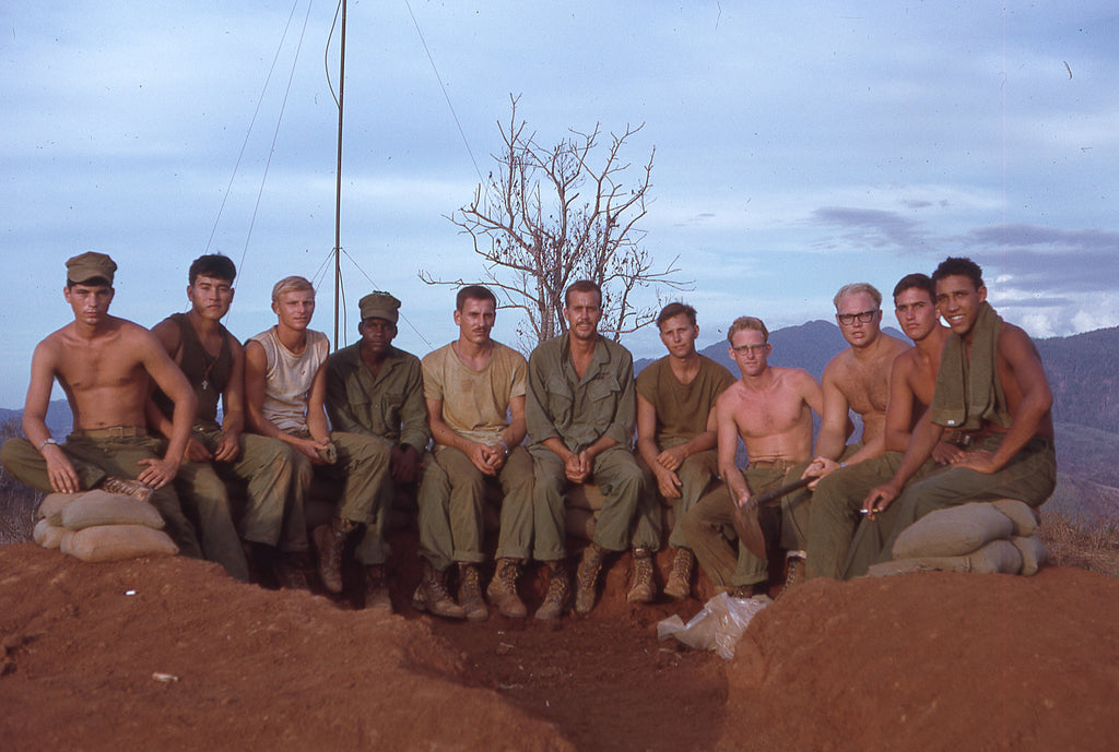 Band of Brothers. Sgt Hinkle (centre left) and fellow members of Lima Battery after the siege, June 1968.
