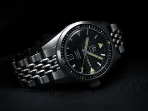 Ollech & Wajs Zurich OW C-1000 swiss made diving watch stainless steel bracelet beads of rice black dial 1000 meters 3300 feet