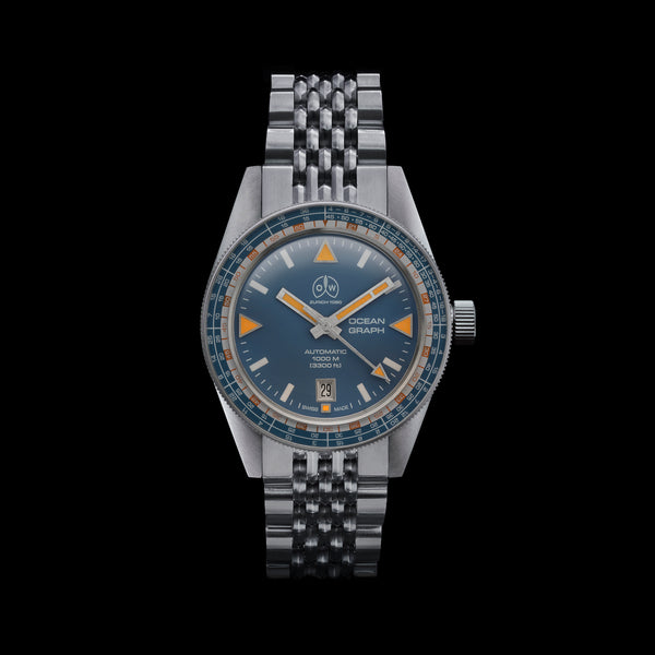 Ollech & Wajs Zurich OW Ocean Graph S swiss made diving watch stainless steel beads of rice bracelet