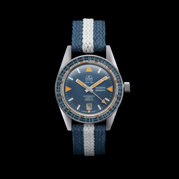 Ollech & Wajs Zurich OW Ocean Graph swiss made diving watch perlon strap blue dial 1000 meters 3300 feet
