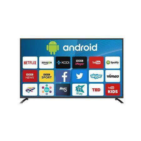 "electriQ 75"" 4K Ultra HD LED Android Smart TV with Freeview HD - Silver - Lintronics Group LTD"