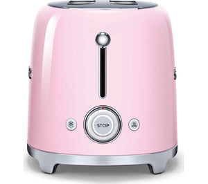 SMEG TSF02CRUK 4-Slice Toaster - Pink - Lintronics Group LTD