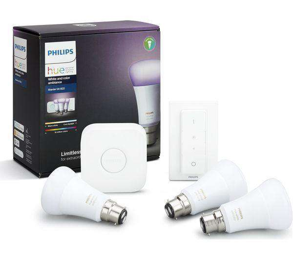 PHILIPS Hue A60 White & Colour Ambience B22 Starter Kit - Lintronics Group LTD