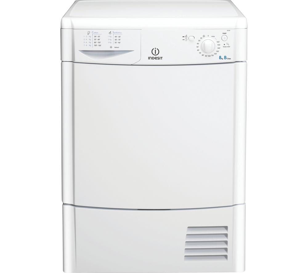 INDESIT Ecotime IDC8T3B Condenser Tumble Dryer – White - Lintronics Group LTD