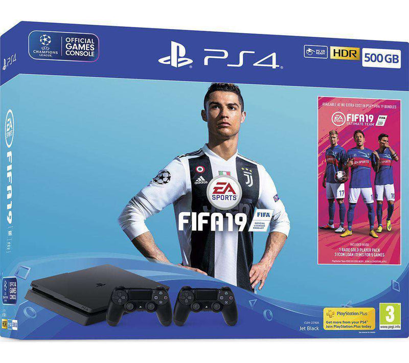 SONY PlayStation 4 with FIFA 19 & Dual Wireless Controllers - 500 GB - Lintronics Group LTD