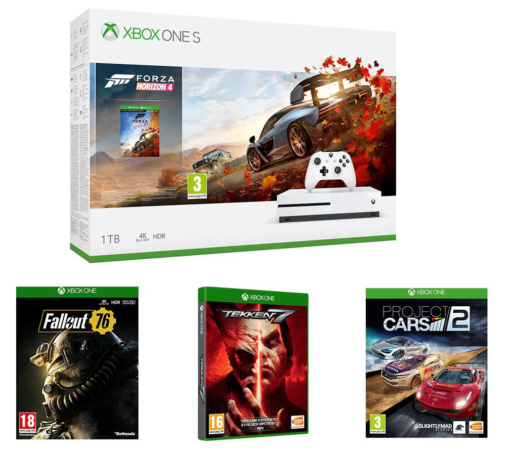 MICROSOFT Xbox One S, Forza Horizon 4, Project Cars 2, Tekken 7, Fallout 76 & Apex Legends Bundle - Lintronics Group LTD
