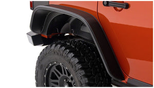 Bushwacker®  Black Jeep Flat Style Textured Finish 4-Piece Fender Flare Set for 2007-2018 Jeep Wrangler JK Unlimited 4-Door / 10918-07