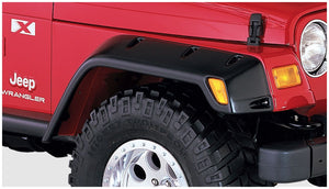 Bushwacker®  Black Pocket/Rivet Style Textured Finish 4-Piece Fender Flare Set for 1997-2006 Jeep Wrangler TJ / 10908-07