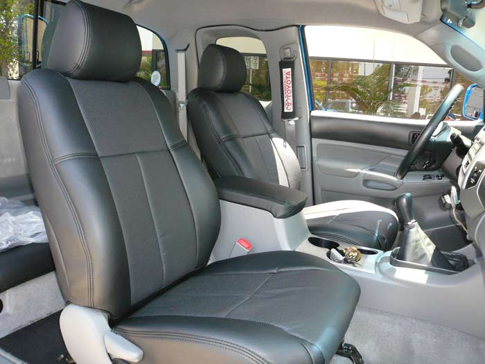 Clazzio Seat Cover (Black Leather) - 2020 Tacoma Double Cab