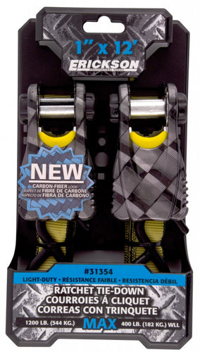 "Erickson 1"" x 12' Carbon Fibre-Look Ratchet Straps (1200 Lbs.) 2-Pack / 31354"
