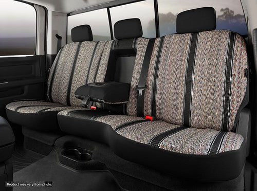 Fia Black Saddle Blanket Rear Seat Cover - 2007-2013 Avalanche 60/40 Rear with Built-in Seat Belts and Armrest with Cup Holder
