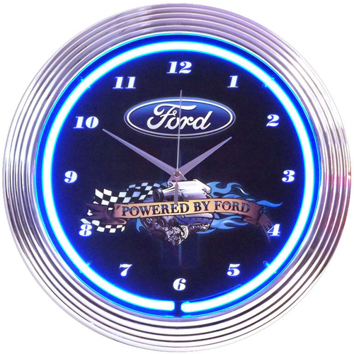 NEON CLOCK POWERED BY FORD