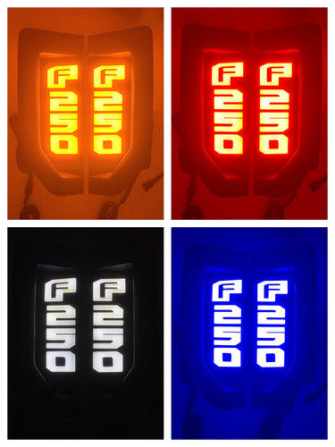 RECON™ Illuminated Emblems Chrome in Amber, Red, White & Blue for 2017-2020 Ford F-350 / 264484CH
