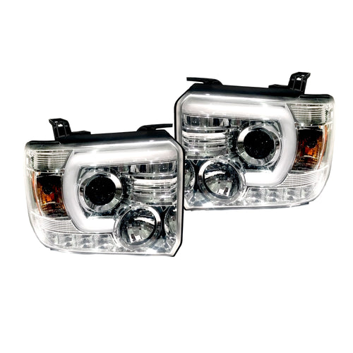 RECON Projector Headlights Smooth OLED Halos & DRL Clear/Chrome for 2014-2018 Sierra 1500 & 2014-2019 2500,3500 / 264295CLC