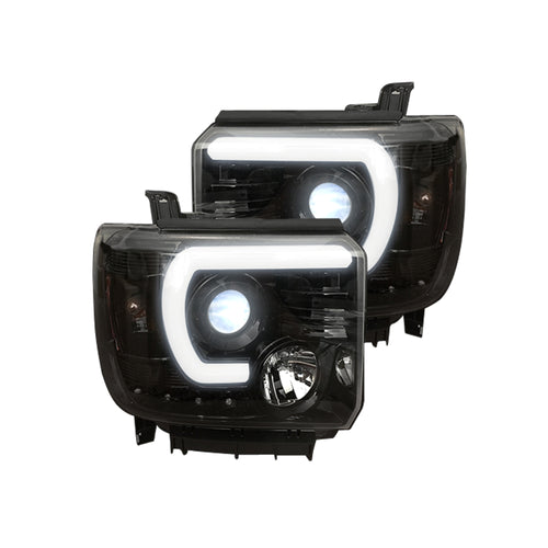RECON Projector Headlights Smooth OLED Halos & DRL Smoked/Black for 2014-2018 Sierra 1500 & 2014-2019 2500,3500 / 264295BKC
