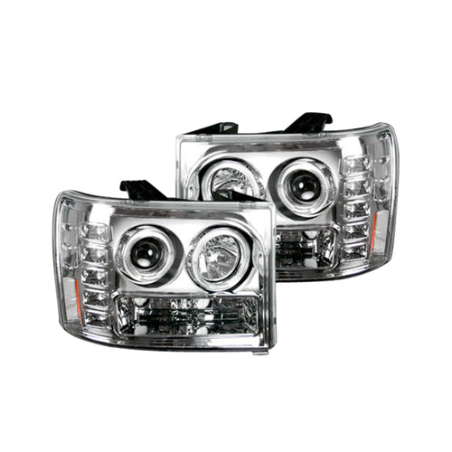 RECON Projector Headlights in Clear/Chrome Lens for 2007-2013 Sierra / 264271CL
