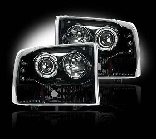 RECON Projector Headlights in Smoked Lens for 1999-2004 Ford Super Duty F-250 / 264192BK