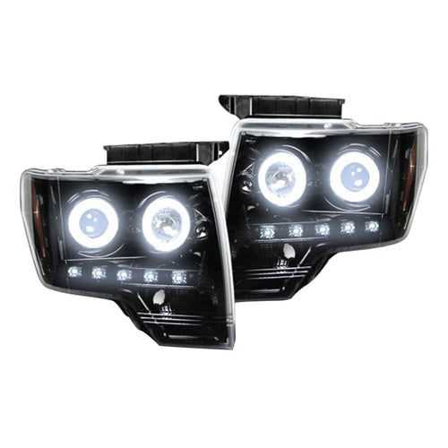 RECON Projector Headlights with CCFL Halos & DRL Smoked or Black for 2009-2014 Ford F-150 and Raptor / 264190BKCC