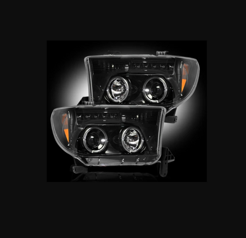 RECON Projector Headlights with LED Halos Smoked for 2007-2013 Tundra & 2008-2013 Sequoia / 264194BK