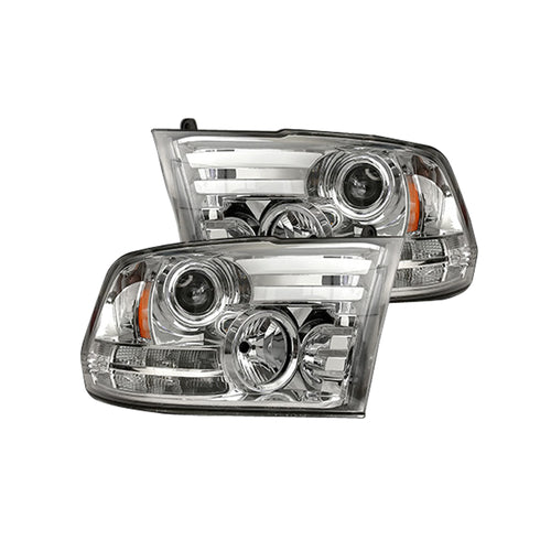 RECON Projector Headlights with OLED DRL, LED Clear/Chrome for 2014-2019 Dodge Ram 1500 & 2015-2018 2500,3500 / 264276CLC