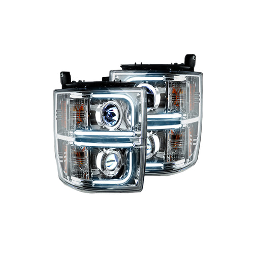 RECON Projector Headlights with OLED Halos DRL Clear/Chrome for 2014-2016 Silverado / 264275CLC