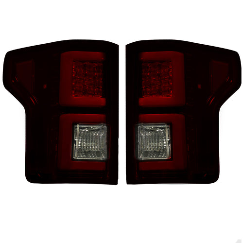 RECON Tail Lights LED in Dark Red Smoked Lens for 2015-2017 Ford F-150
