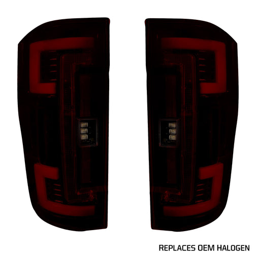 RECON™ Tail Lights OLED in Dark Red Smoked Lens for 2017-2019 Ford Super Duty (Replaces OEM Halogen) / 264299RBK