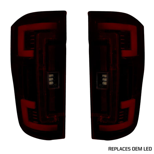 RECON™ Tail Lights OLED in Dark Red Smoked Lens for 2017-2019 Ford Super Duty (Replaces OEM LED) / 264299LEDRBK