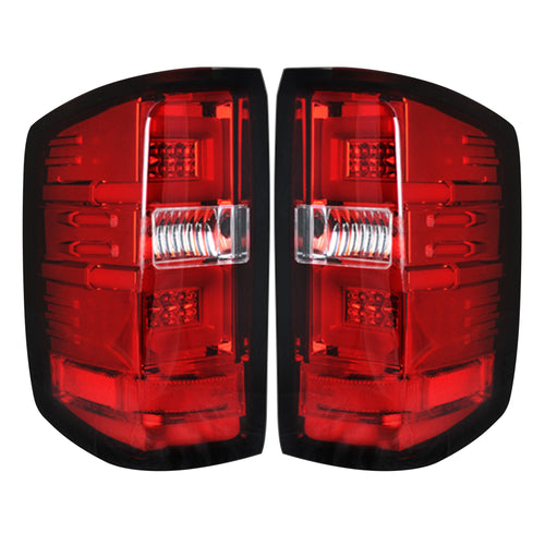 RECON Tail Lights OLED in Red Lens for 2016-2018 Silverado 1500 & 2016-2019 2500,3500 (Replaces OEM LED) / 264297RD