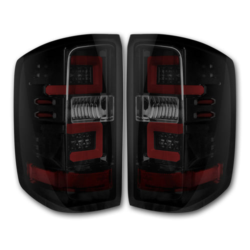 RECON Tail Lights in Dark Red Smoked Lens for 2016-2018 Silverado 1500 & 2016-2019 2500,3500 (Replaces OEM LED) / 264297RBK