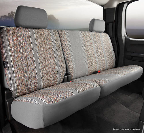 Fia Grey Saddle Blanket Rear Seat Cover - 2007-2013 Silverado/Sierra Rear 60D/40P with Removable Headrests