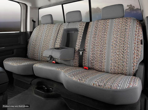 Fia Grey Saddle Blanket Rear Seat Cover - 2007-2013 Avalanche 60/40 Rear with Built-in Seat Belts and Armrest with Cup Holder