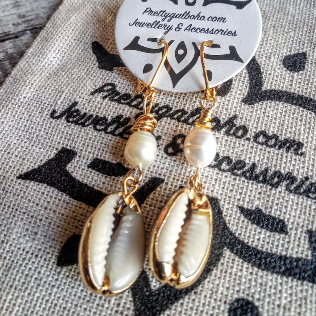 Ocean Goddess Pearl & Cowrie gold earrings