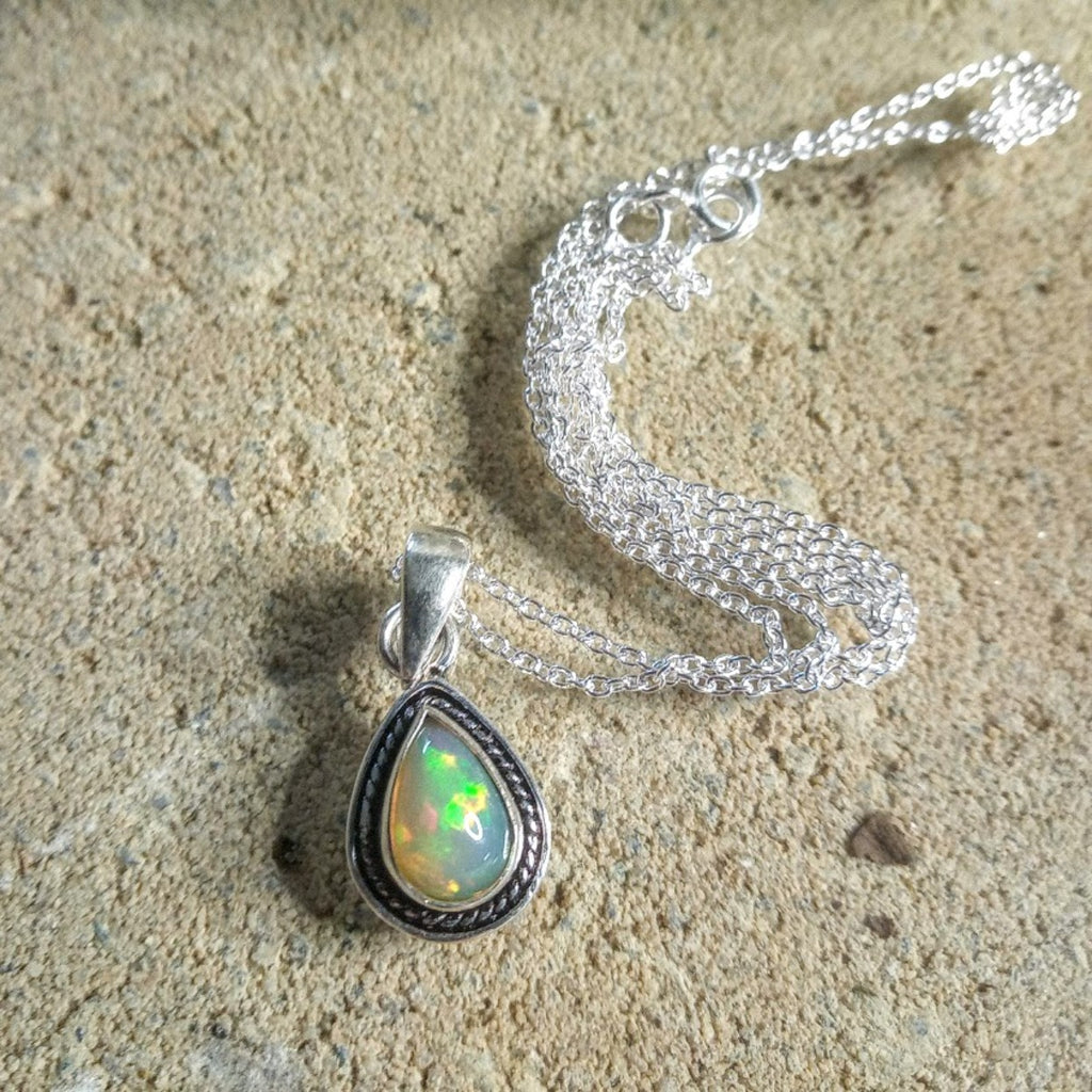 tear drop rope design Opal Pendant