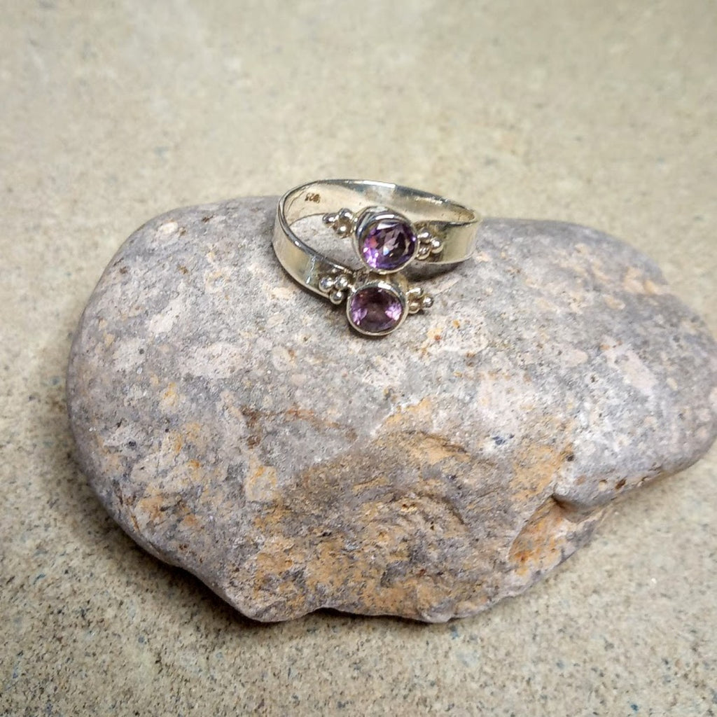 double adjustable amethyst ring