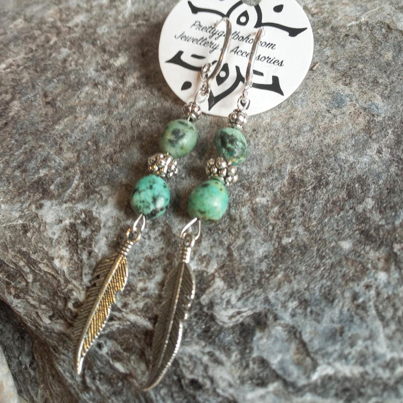 Turquoise Silver Leaves Hook Earrings