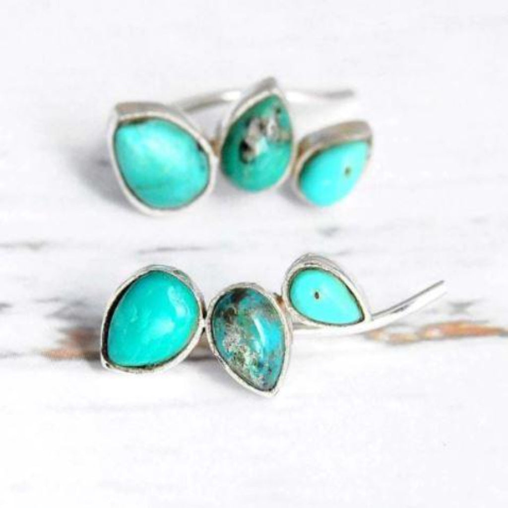 Three leaves turquoise stud/hook earrings