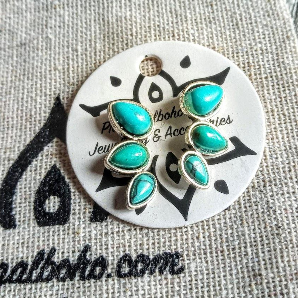3 Leaves Turquoise Stud/hook earrings