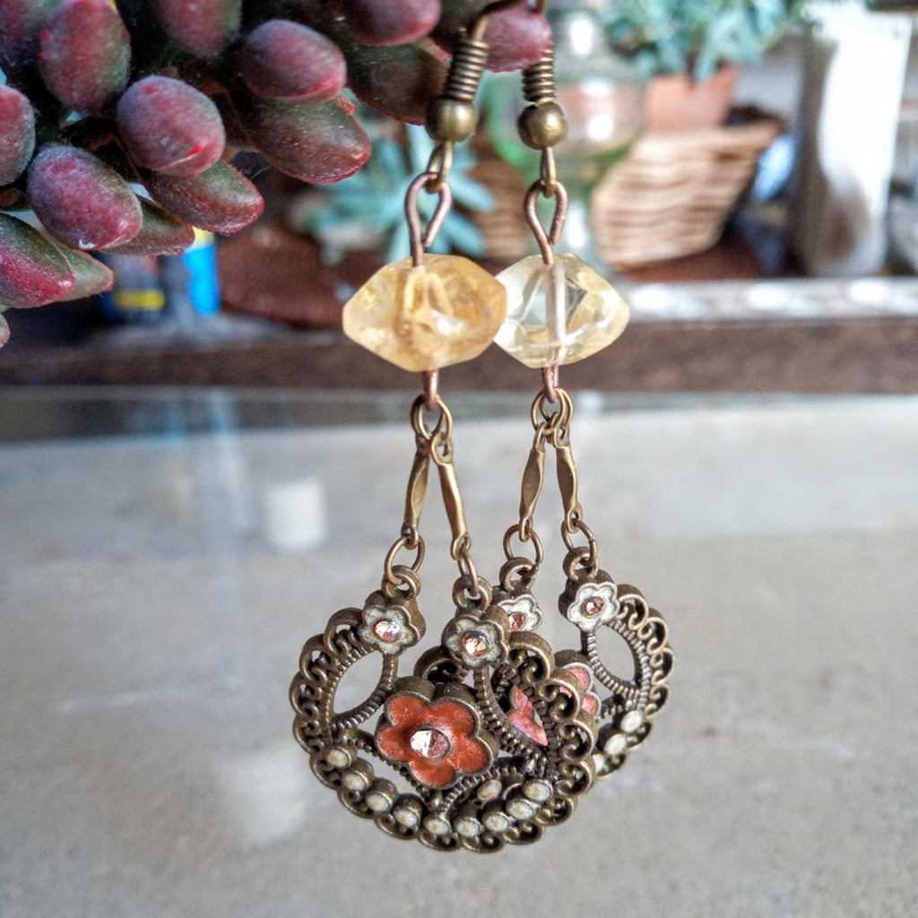 Citrine Brass Boho Dangles