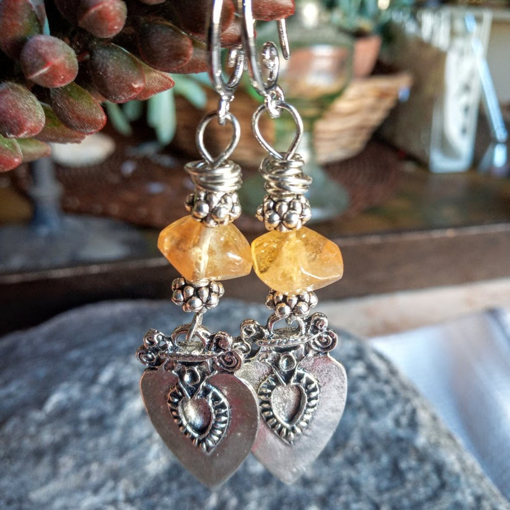 Citrine Tribal Silver Hook Earrings