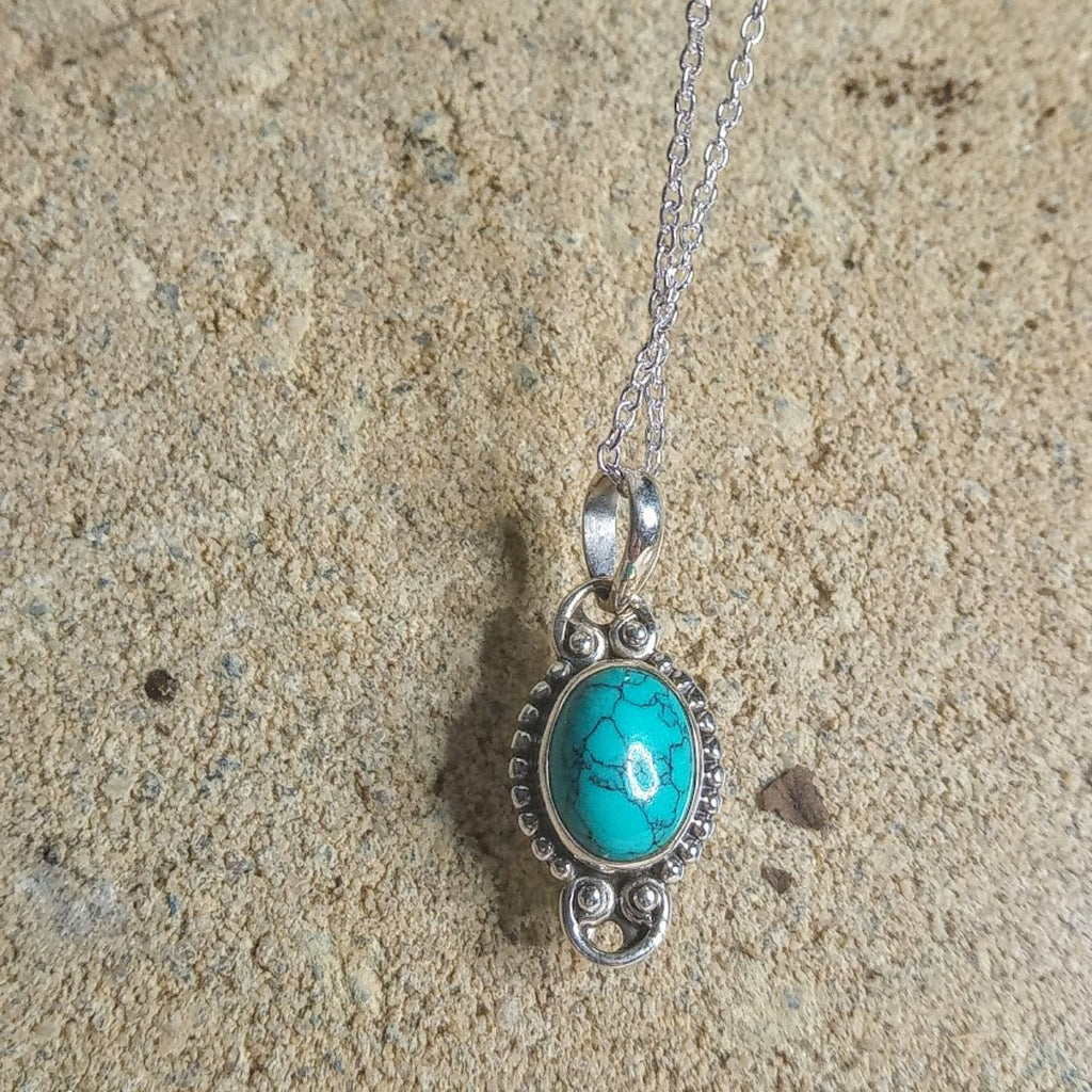 turquoise Silver Pendant and chain
