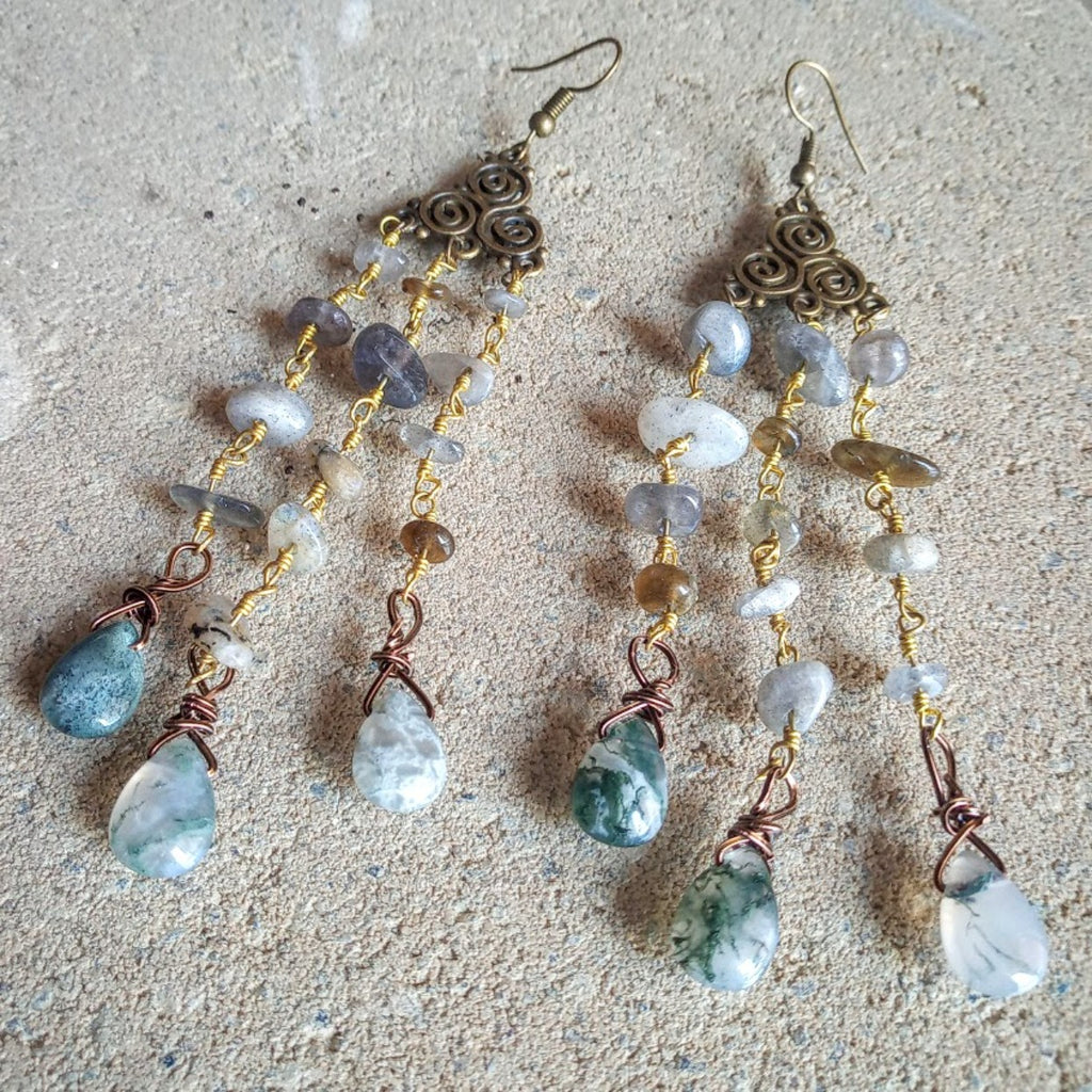 Labradorite brass drop earrings